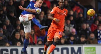 Ipswich's Matthew Pennington in action with Millwall's Tom Elliott