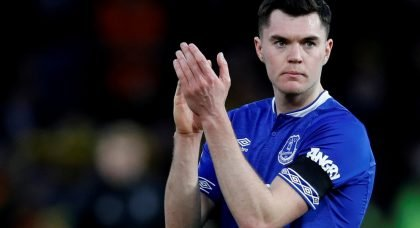 Everton's Michael Keane applauds fans after the Watford match