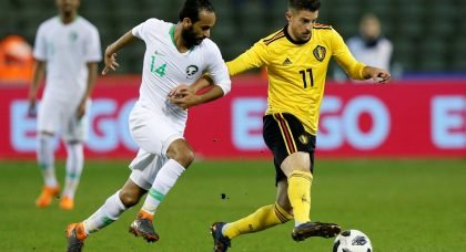 Belgium's Kevin Mirallas in action with Saudi Arabia's Abdullah Otaif