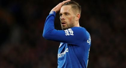 Everton's Gylfi Sigurdsson looks shocked during the Liverpool match