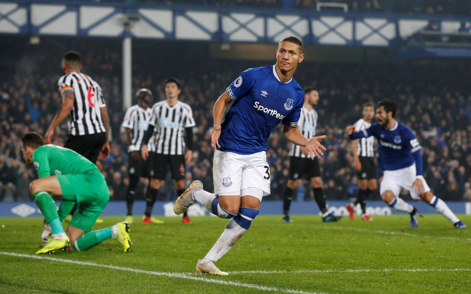 Everton's Richarlison celebrates scoring their first goal v Newcastle