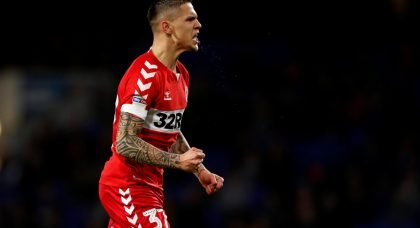 Middlesbrough's Everton-loanee Muhamed Besic celebrates scoring their first goal v Ipswich