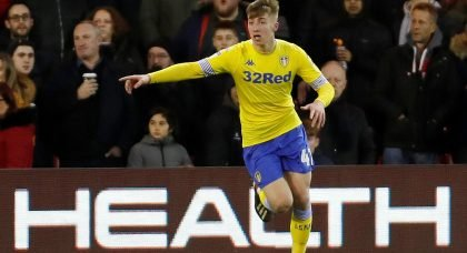 Leeds' Jack Clarke celebrates after he scores the first goal away to Nottingham Forest
