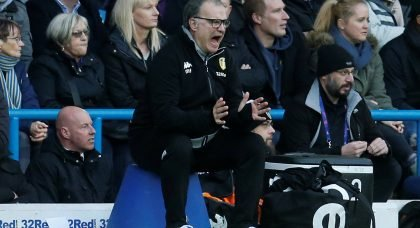 Leeds United manager Marcelo Bielsa reacts during the Hull match