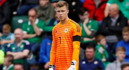 Northern Ireland's Bailey Peacock-Farrell reacts v Bosnia and Herzegovina in UEFA Nations League