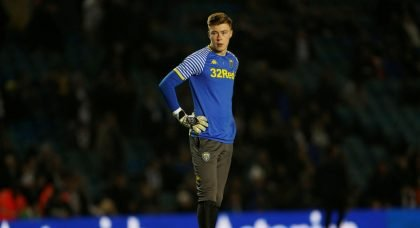 Leeds United's Bailey Peacock-Farrell watches on during the warm up v West Bromwich Albion