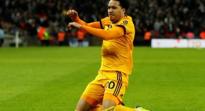 Wolverhampton Wanderers' Helder Costa celebrates scoring their third goal v Tottenham Hotspur, December 2018