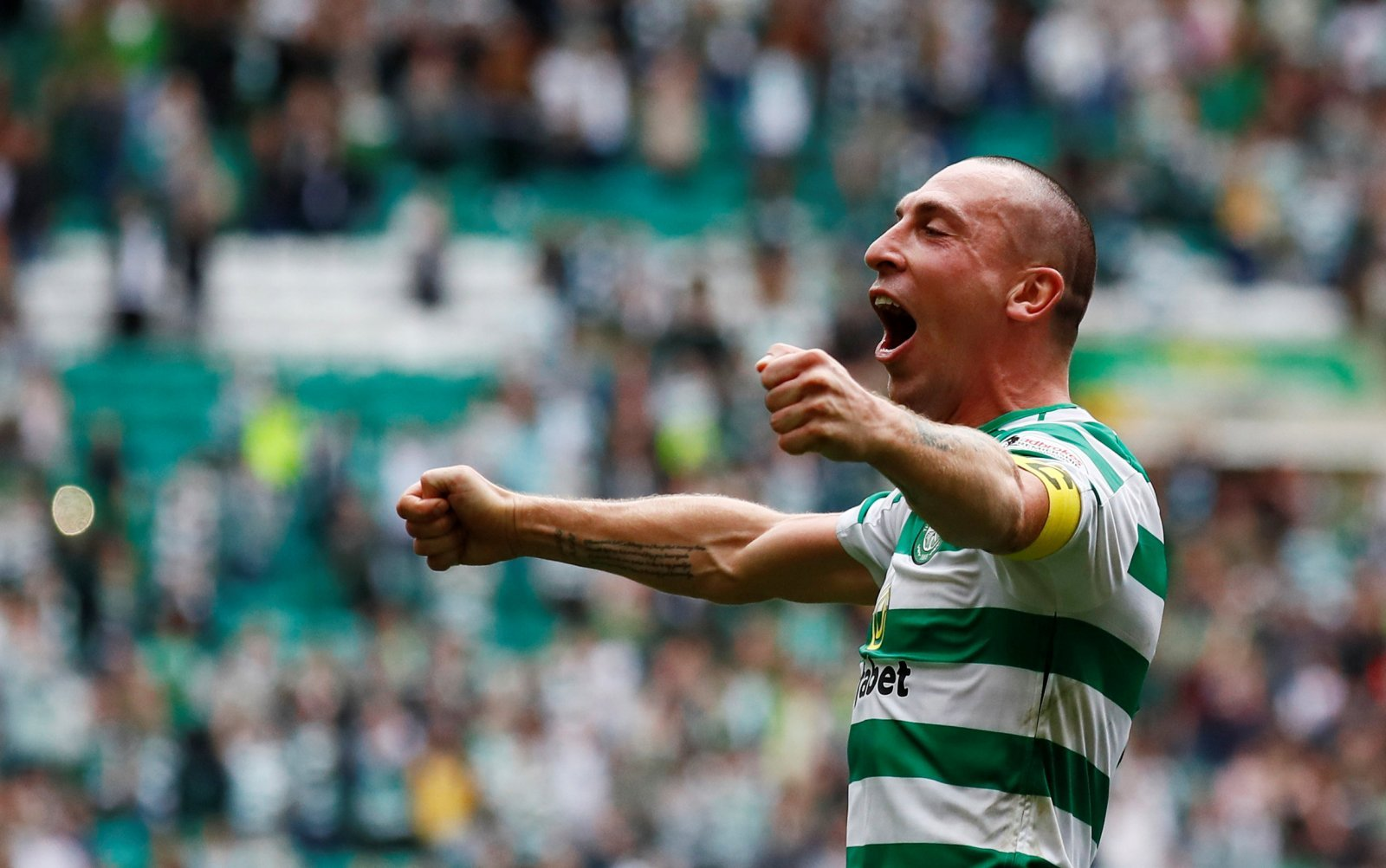 Scott Brown celebrates a Celtic win