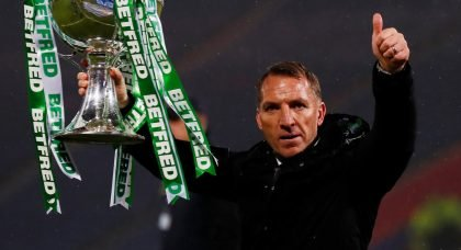 Brendan Rodgers celebrates Celtic's cup win