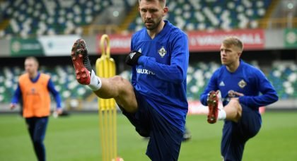 Gareth McAuley in training with Northern Ireland