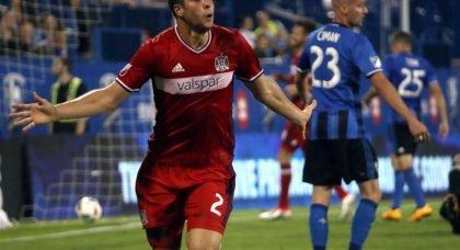 Matt Polster celebrates scoring for Chicago Fire